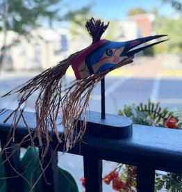 Aboriginal - Free Standing Hummingbird Mask with Cedar Hair