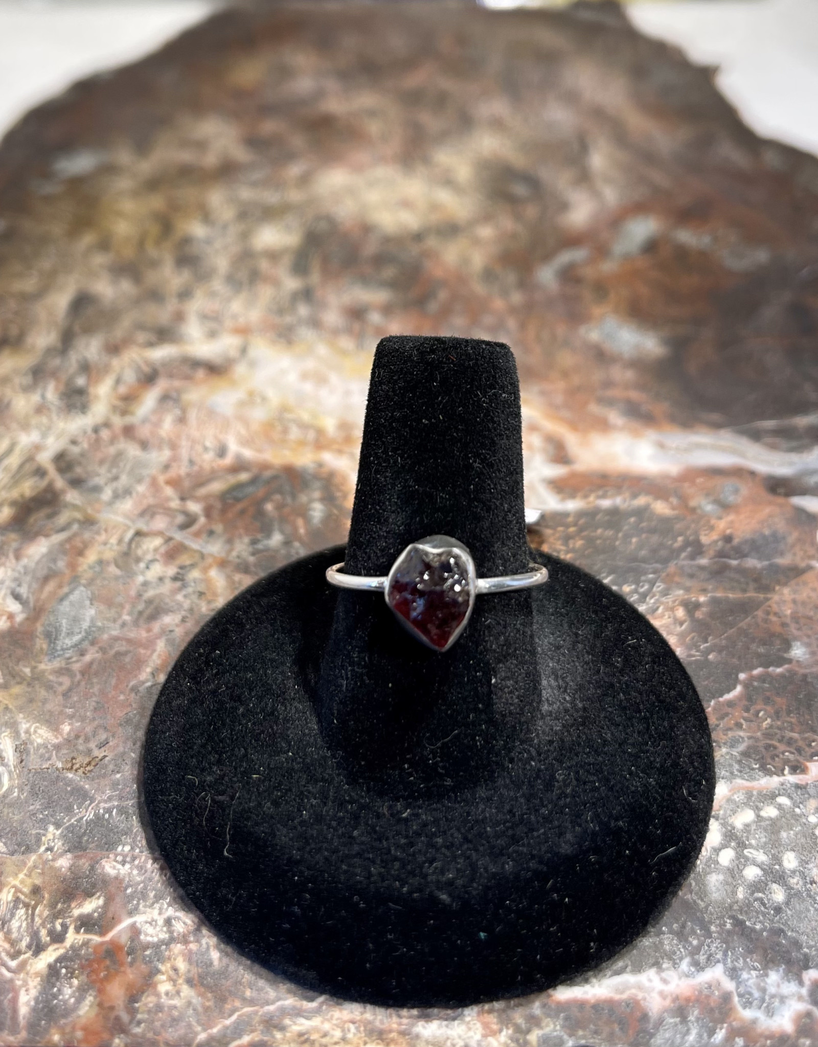 Jewelry - Rough Cut Red Almandine .925 Sz 7