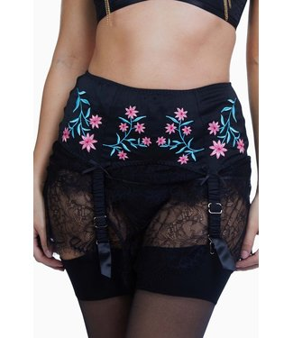 Playful Promises Bettie Page Embroidered Suspender Belt - black