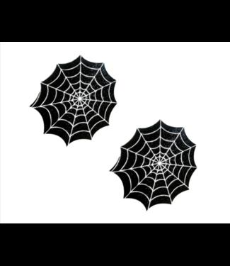 Neva Nude Glitter Blacklight Spider Web Nipztix