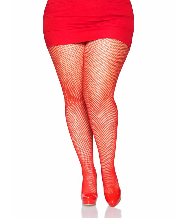 Leg Avenue Fishnet Tights - Queen - Red
