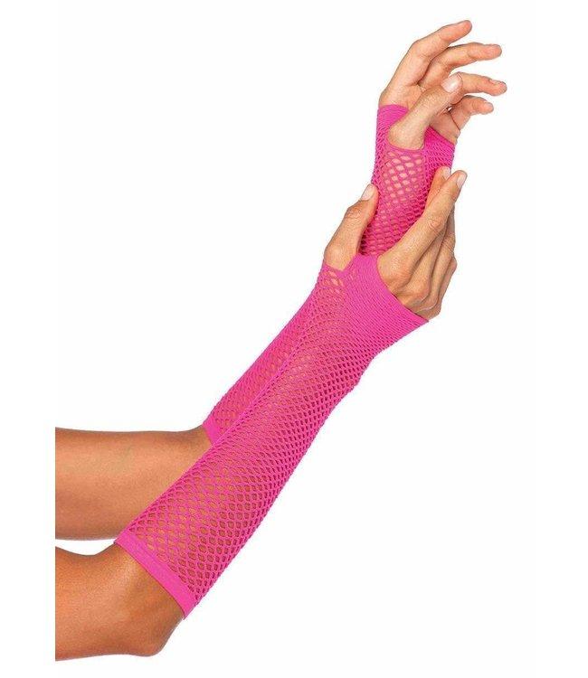 Leg Avenue Fishnet Fingerless gloves - neon Pink