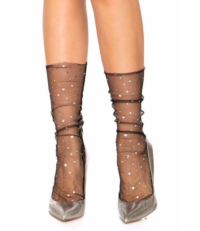 Leg Avenue Stars and moons embellished anklet socks - black