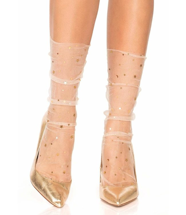 Leg Avenue Stars and moons embellished anklet socks - cream