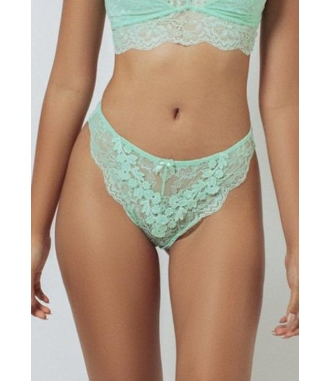 Kilo Brava Mesh & Lace High Leg Bikini - Mist Green