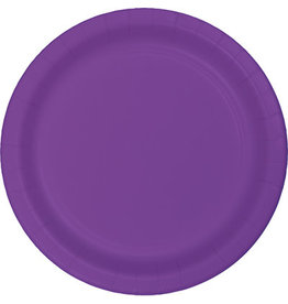 """Touch of Color 10"""" Amethyst Purple Paper Banquet Plates - 24ct."""