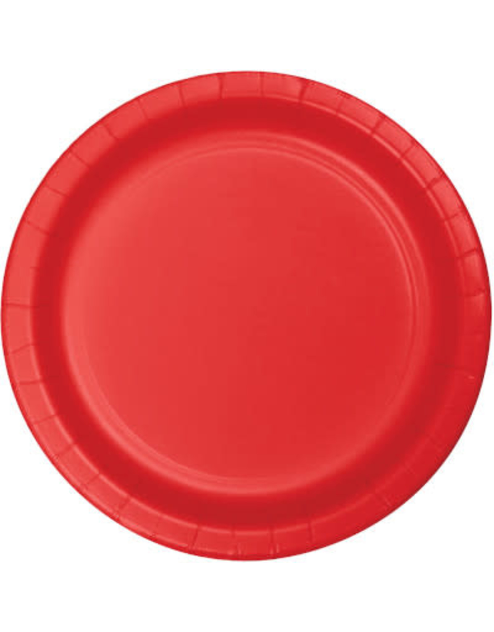 """Touch of Color 10"""" Classic Red Paper Banquet Plates - 24ct."""