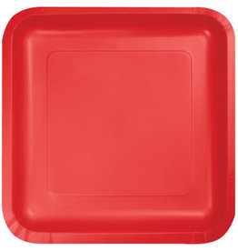 Touch of Color SQUARE CLASSIC RED DINNER PAPER PLATES