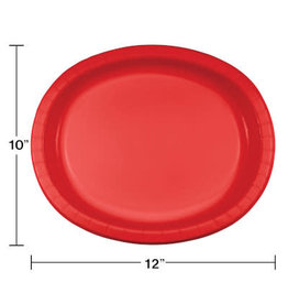 """Touch of Color Red 10"""" x 12"""" Oval Platters - 8ct."""