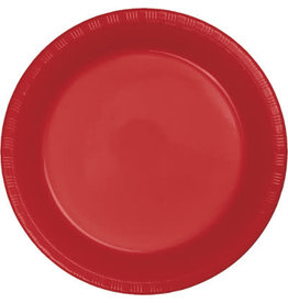 """Touch of Color Classic Red 7"""" Plastic Plates - 20ct."""