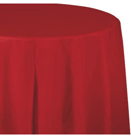Touch of Color CLASSIC RED ROUND PLASTIC TABLECLOTH