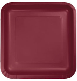 Touch of Color SQUARE BURGUNDY RED DINNER PAPER PLATES