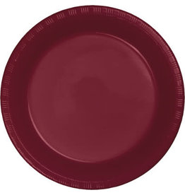 """Touch of Color Burgundy 7"""" Plastic Plates - 20ct."""