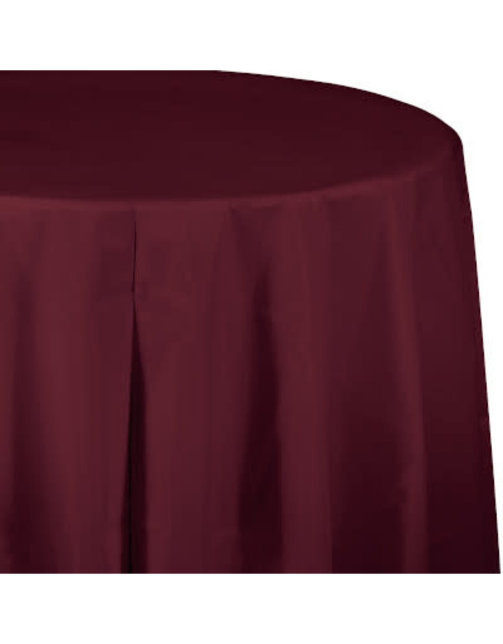 Touch of Color BURGUNDY RED ROUND PLASTIC TABLECLOTH