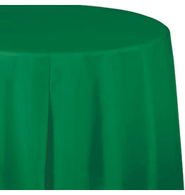 Touch of Color EMERALD GREEN ROUND PLASTIC TABLECLOTH