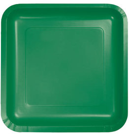 Touch of Color SQUARE EMERALD GREEN DINNER PAPER PLATES