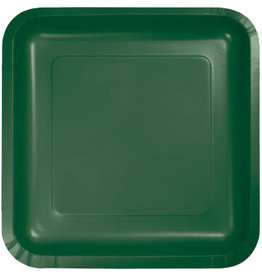 Touch of Color SQUARE HUNTER GREEN DINNER PAPER PLATES