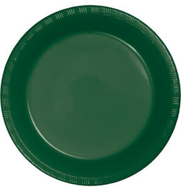 """Touch of Color Hunter Green 7"""" Plastic Plates - 20ct."""
