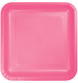 Touch of Color SQUARE CANDY PINK DINNER PAPER PLATES