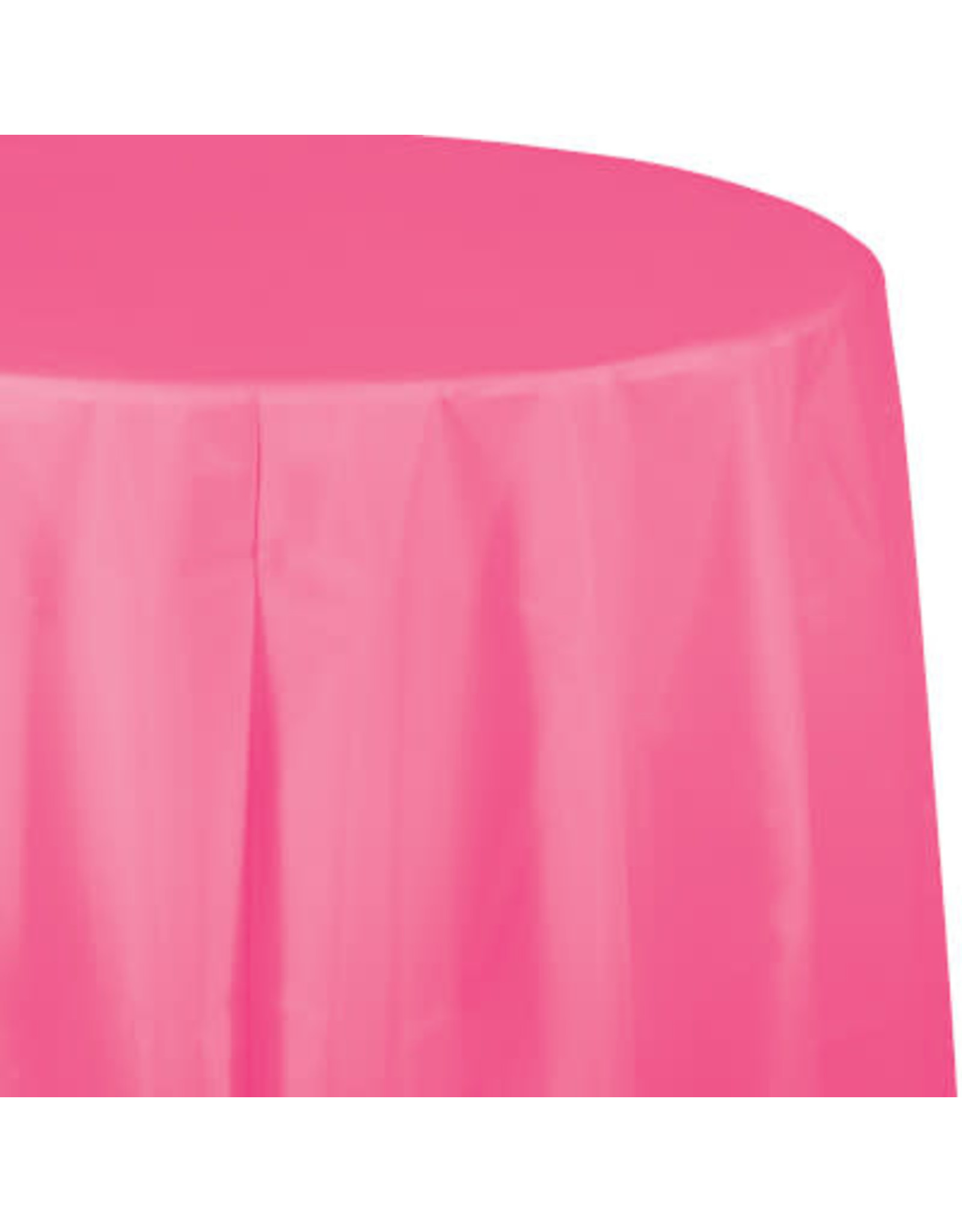 Touch of Color CANDY PINK ROUND PLASTIC TABLECLOTH