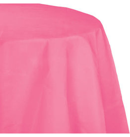 """Touch of Color 82"""" Candy Pink Plastic Lined Tablecover - Round"""