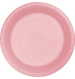 """Touch of Color Classic Pink 10"""" Plastic Banquet Plates - 20ct."""