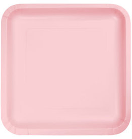 """Touch of Color Classic Pink 7"""" Square  Paper Plates - 18ct."""