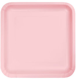 Touch of Color SQUARE CLASSIC PINK DINNER PAPER PLATES