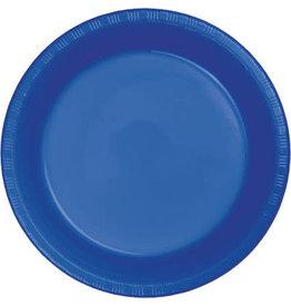 """Touch of Color Cobalt Blue 7"""" Plastic Plates - 20ct."""