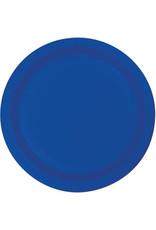 """Touch of Color 10"""" Cobalt Blue Paper Banquet Plates - 24ct."""