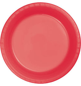 """Touch of Color Coral 7"""" Plastic Plates - 20ct."""