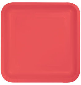 Touch of Color SQUARE CORAL DINNER PAPER PLATES