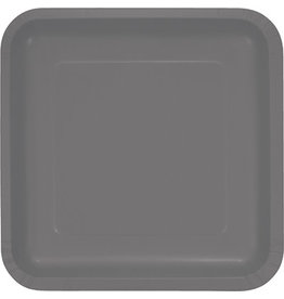 Touch of Color SQUARE GLAMOUR GRAY SQUARE DINNER PAPER PLATES