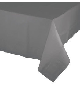 Touch of Color GLAMOUR GRAY PAPER TABLECLOTH WITH PLASTIC LINING