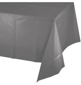 Touch of Color Glamour Gray Plastic Table Cover 54in. x 108in.