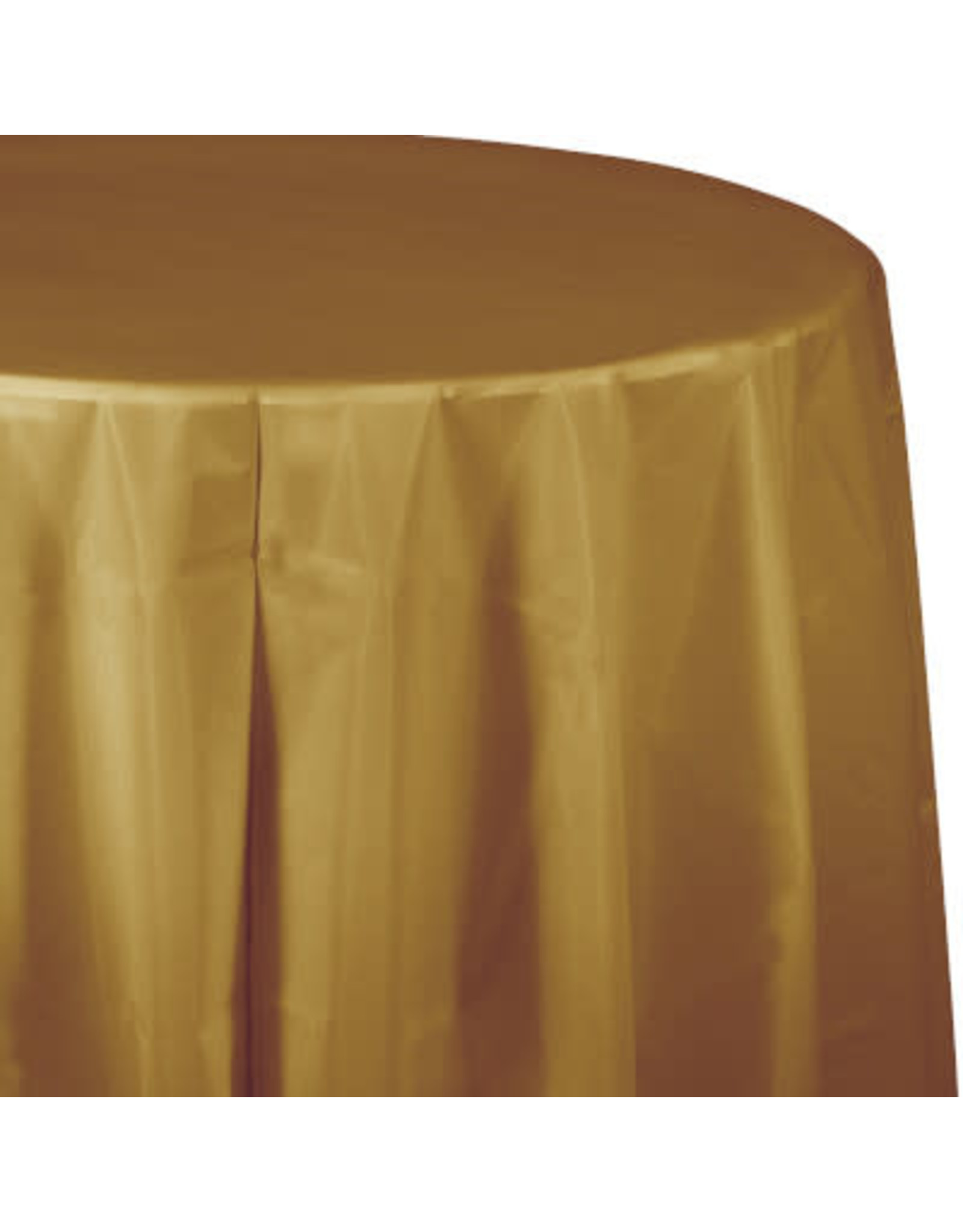 Touch of Color GLITTERING GOLD ROUND PLASTIC TABLECLOTH