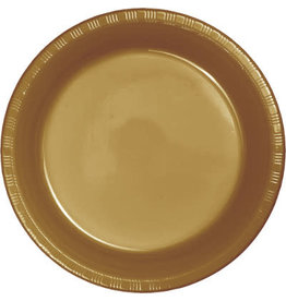 """Touch of Color Glittering Gold 7"""" Plastic Plates - 20ct."""