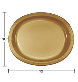 Touch of Color Glittering Gold Oval Paper Plates - 8ct.