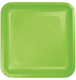 Touch of Color SQUARE FRESH LIME GREEN DINNER PAPER PLATES