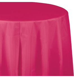 Touch of Color HOT MAGENTA PINK ROUND PLASTIC TABLECLOTH