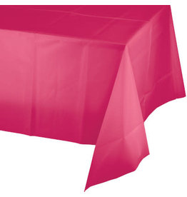 Touch of Color HOT MAGENTA PINK PLASTIC TABLECLOTH
