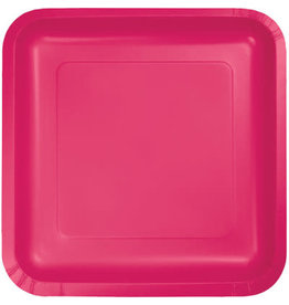 Touch of Color HOT MAGENTA PINK SQUARE DESSERT PLATES