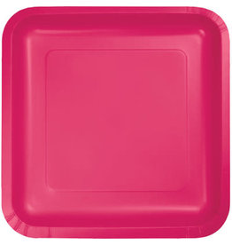 Touch of Color SQUARE HOT MAGENTA PINK DINNER PAPER PLATES