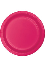 """Touch of Color 10"""" Hot Magenta Paper Banquet Plates - 24ct."""
