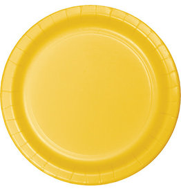 """Touch of Color 10"""" School Bus Yellow Paper Banquet Plates - 24ct."""