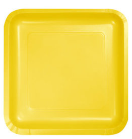 """Touch of Color School Bus Yellow 10"""" Square Paper Plates - 18ct"""