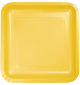 """Touch of Color School Bus Yellow 7"""" Square Paper Plates - 18ct."""