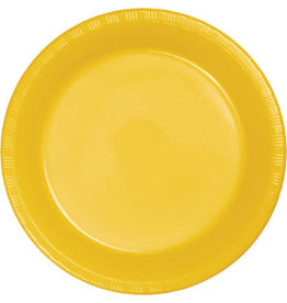 Touch of Color SCHOOL BUS YELLOW PLASTIC BANQUET PLATES