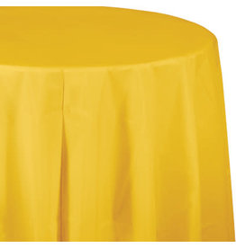 Touch of Color SCHOOL BUS YELLOW ROUND PLASTIC TABLECLOTH