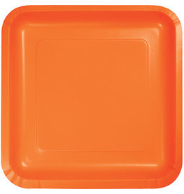 Touch of Color SQUARE SUNKISSED ORANGE DINNER PAPER PLATES